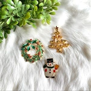 Bundle of 3 Vintage Christmas Brooches